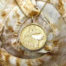 Load image into Gallery viewer, Alpaca Huacaya Silhouette Profile Coin Pendant