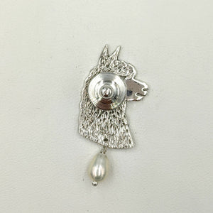Alpaca Huacaya Head Pendant or Pin with Freshwater Pearl Dangle