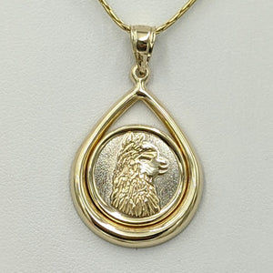 Alpaca Huacaya Silhouette Teardrop Coin Pendant Two-Tone 14K Yellow and White Gold- Limited Edition