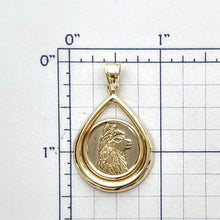 Load image into Gallery viewer, Alpaca Huacaya Silhouette Teardrop Coin Pendant Two-Tone 14K Yellow and White Gold- Limited Edition