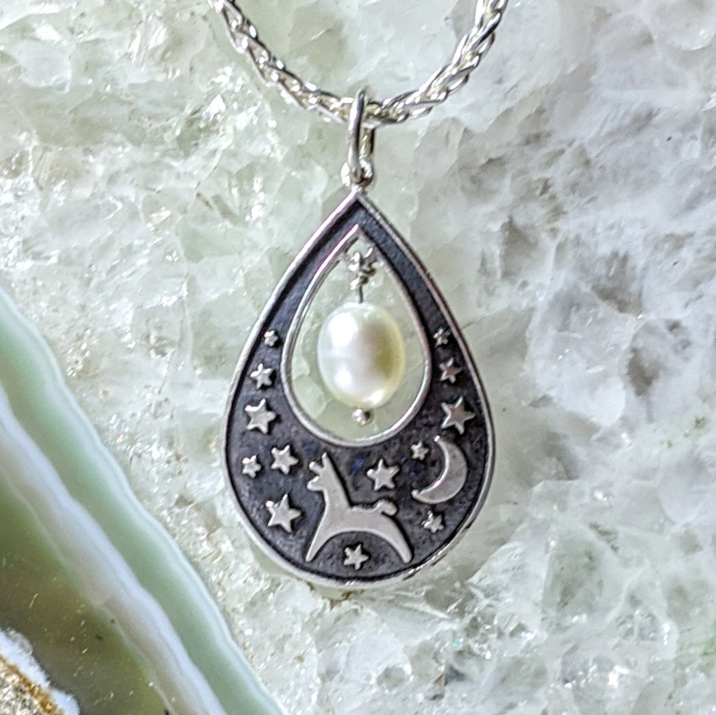 Alpaca or Llama Celestial Spirit Teardrop Pendant with Pearl