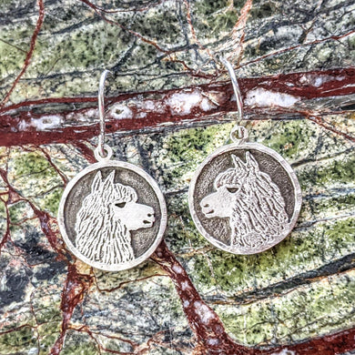 Alpaca Huacaya Silhouette Profile Coin Earrings