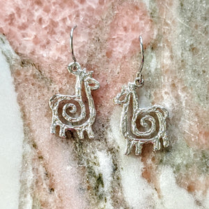 Alpaca or Llama Compact Spiral Earrings