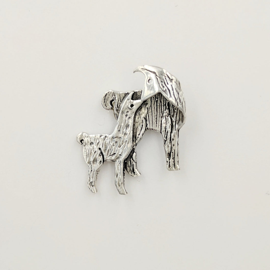 Llama Kiss Pin - Sterling Silver Mother with Sterling Silver Baby Cria