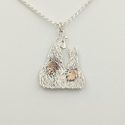 Sterling Silver Swoosh Tush Kush (laying down) Kiss Pendant - Sterling Silver Mother and Baby Cria Touching Noses with 14K Rose Gold Tails that actually move