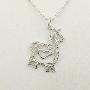 Alpaca or Llama Compact Spiral with Heart Pendant -  Sterling Silver