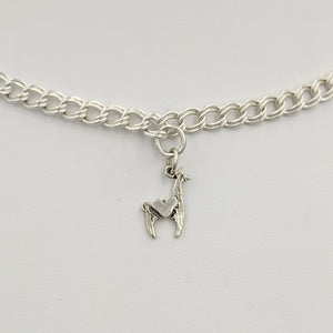 Llama Crescent with Heart Charm - Sterling silver