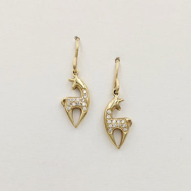 Alpaca or Llama Spirit Crescent Petite Earrings with Pave Diamonds Yellow Gold on French wires