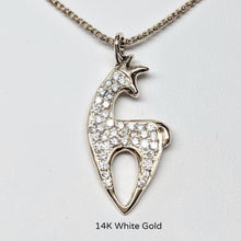 Load image into Gallery viewer, Alpaca or Llama Crescent Pendant with Pave Set Diamonds