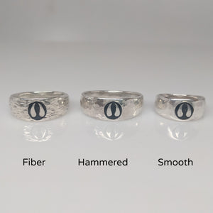 Alpaca or Llama Passion Print Signet Ring 8mm wide  various finishes shown in sterling Silver