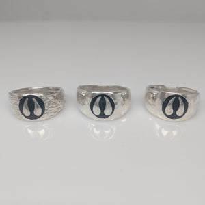 Alpaca or Llama Passion Print Signet Ring 10mm wide  various finishes shown in sterling Silver