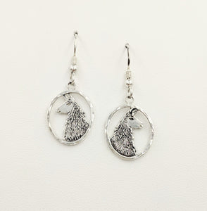 Llama Head Open View Earring - Sterling Silver on French wires