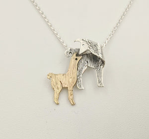 Llama Kiss Pendant - Sterling Silver Mother with 14K Yellow Gold Baby Cria