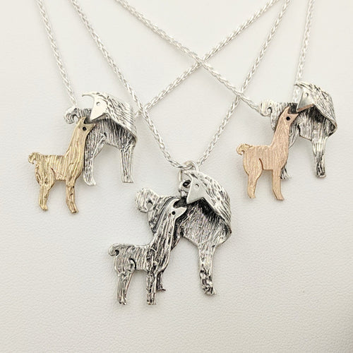 Llama Kiss Pendants - Sterling Silver Mothers with 14K Yellow Gold Baby Cria, Sterling Silver Cria, 14K Rose Gold Baby Cria