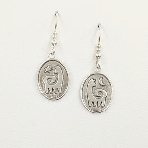 Alpaca or Llama Reflection Petrogylph Earrings - Sterling Silver with smooth finish on French wires