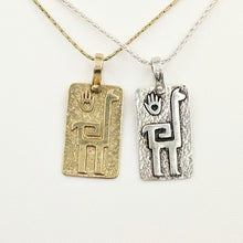 Load image into Gallery viewer, Alpaca or Llama Quechua Petroglyph Pendants - 14K Yellow Gold and Sterling Silver - both smooth and shiny finishes