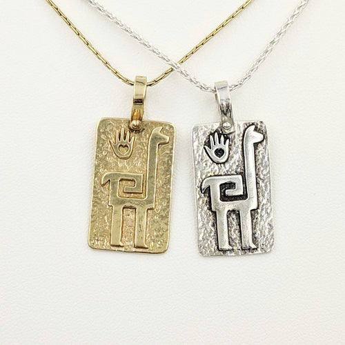 Alpaca or Llama Quechua Petroglyph Pendants - 14K Yellow Gold and Sterling Silver - both smooth and shiny finishes