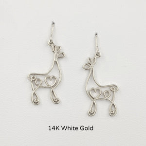 Alpaca or Llama Romantic Ribbon Momma And Baby Cria Earrings on French wires- Looks like a continuous line drawing made onto the shape of an alpaca or llama Smooth finish 14K White Gold