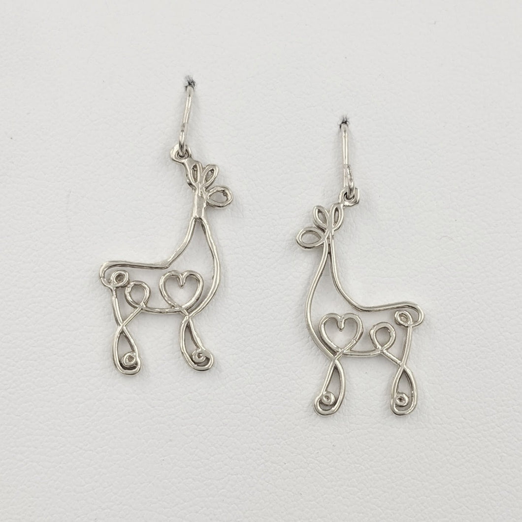 Alpaca or Llama Romantic Ribbon Momma And Baby Cria Earrings French wires- Looks like a continuous line drawing made onto the shape of an alpaca or llama  Smooth finish Sterling Silver