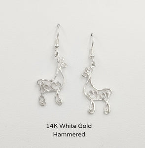 Alpaca or Llama Romantic Ribbon Momma And Baby Cria Earrings on French wires- Looks like a continuous line drawing made onto the shape of an alpaca or llama Hammered texture 14K White Gold