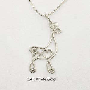 Alpaca or Llama Romantic Ribbon Pendant - Looks like a continuous line drawing made onto the shape of an alpaca or llama Smooth finish 14K White Gold