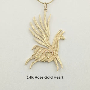 Alpaca or Llama Winged Soaring Spirit with Heart Pendant 14K Yellow Gold animal with 14K Rose Gold heart accent  fiber finish