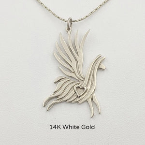 Alpaca or Llama Winged Soaring Spirit with Heart Pendant 14K White Gold animal  smooth finish