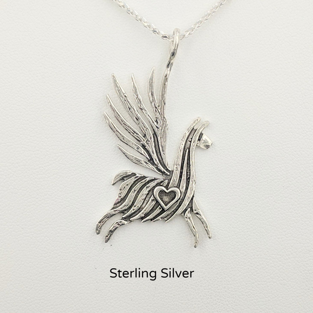 Alpaca or Llama Winged Soaring Spirit with Heart Pendant Sterling Silver