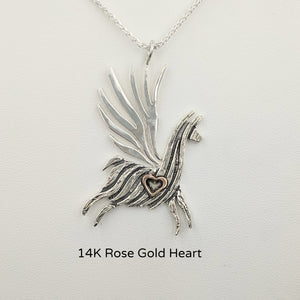 Alpaca or Llama Winged Soaring Spirit with Heart Pendant Sterling Silver animal with 14K Rose Gold heart accent  fiber finish