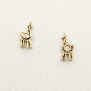 Alpaca or Llama Petite Spiral Earrings with Diamonds  stretchy 14K Yellow Gold on posts