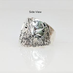Llama Silhouette Cigar Band Style Ring - Side view of the 3 Heads - showing tapered design.  Sterling Silver