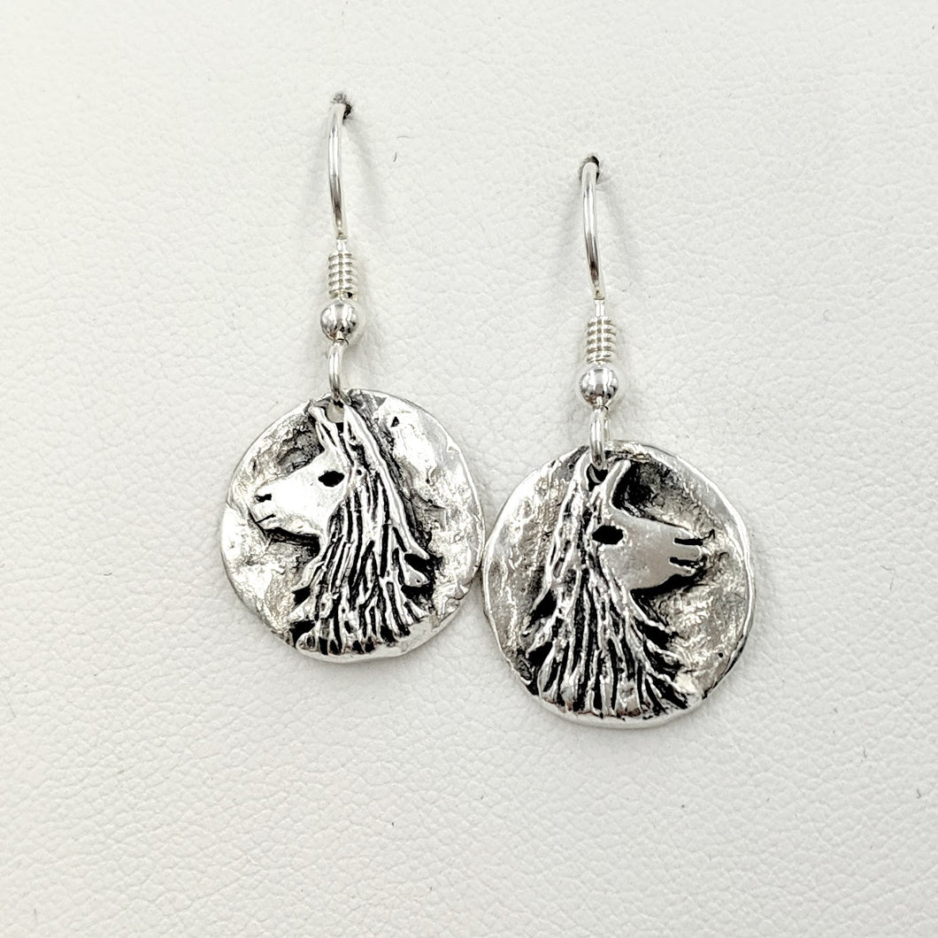 Llama Relic Coin Earrings  - On French wires, Sterling Silver