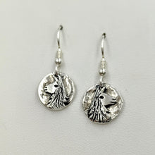Load image into Gallery viewer, Llama Relic Coin Earrings  - On French wires, Sterling Silver