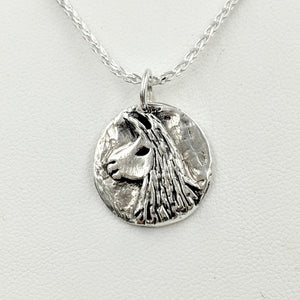 Llama Relic Style Coin Pendant - Sterling Silver