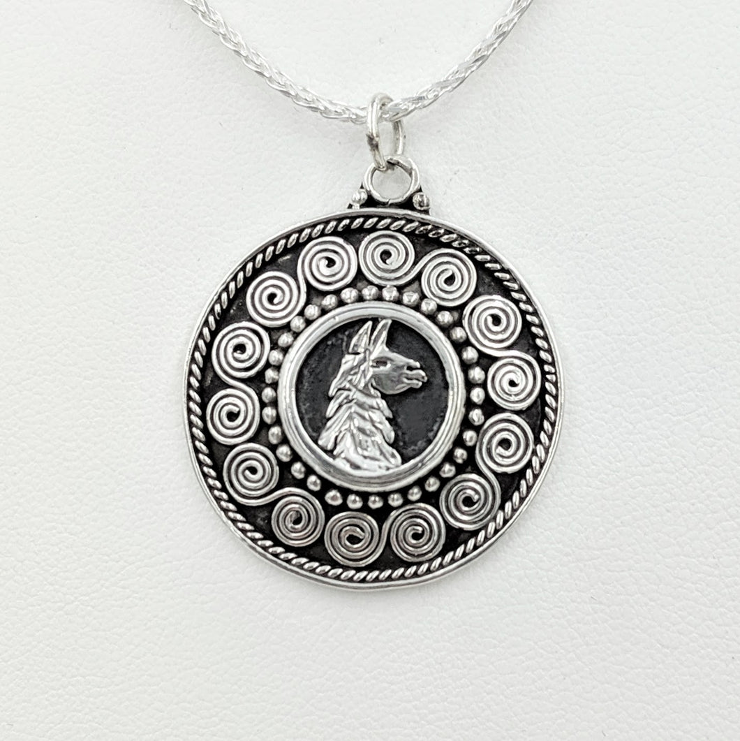 Llama Bali Style Coin Pendant - Sterling Silver