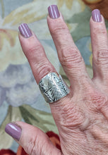 Load image into Gallery viewer, Llama Silhouette Cigar Band Style Ring with 3 Heads - 23mm - showing tapered design on woman's hand.  Sterling Silver
