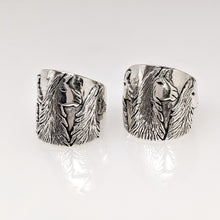 Load image into Gallery viewer, Llama Silhouette Cigar Band Style Ring - Side view of the 3 Heads -23mm - showing tapered design.  Sterling Silver