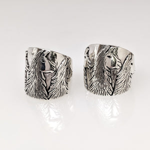 Llama Silhouette Cigar Band Style Ring - Side view of the 3 Heads -23mm - showing tapered design.  Sterling Silver