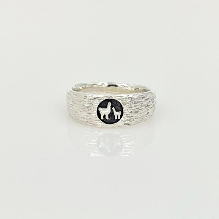 Momma Baby Cria Signet Ring in Sterling Silver - narrow width  fiber texture