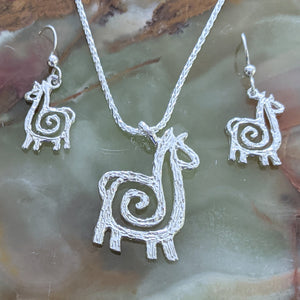 Alpaca or Llama Ensemble Sets - Pendants and Matching Earrings