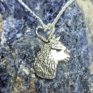 Alpaca Huacaya Silhouette Head Profile Pendant with Heart