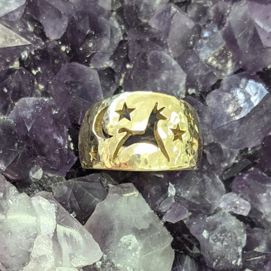 Alpaca or Llama Celestial Spirit Wide Cigar Style Ring 12MM