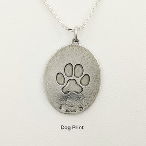 Rainbow Bridge Ovals Disc  Reverse Side  Dog Footprint Sterling Silver
