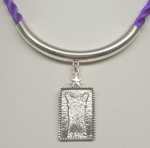 ALSA National Show Champion Pendant -  Reserve National Alpaca Champion - Sterling Silver hanging on  Sterling silver tube