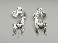 Load image into Gallery viewer, Custom Llama Earrings with 3 Balloons each and Heart Accents - Sterling Silver on Posts