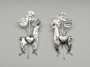 Custom Llama Earrings with 3 Balloons each and Heart Accents - Sterling Silver on Posts