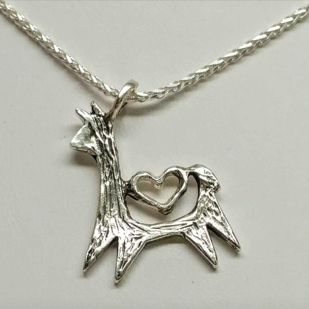 Alpaca or Llama Leaping with Open Heart Pendant - Sterling Silver