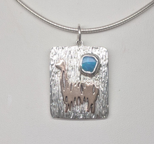 Load image into Gallery viewer, Custom Pendant - Sterling Silver with 14K Rose Gold Animal and Organic Turquoise Gemstone Accent