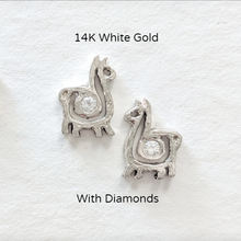 Load image into Gallery viewer, Alpaca or Llama Compact Spiral Earrings - Posts; 14K White Gold with Diamond Accents