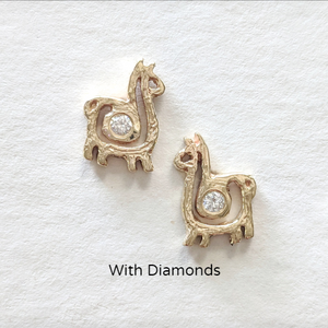 Alpaca or Llama Compact Spiral Earrings - Posts; 14K Yellow Gold with Diamond Accents